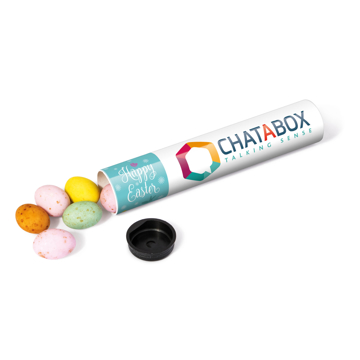 chocolate mini eggs in a branded tube with full colour printed wrap