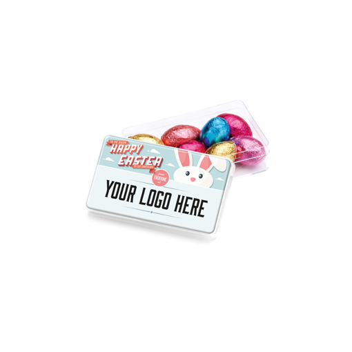 Foil wrapped chocolate eggs in a maxi pot with branded lid