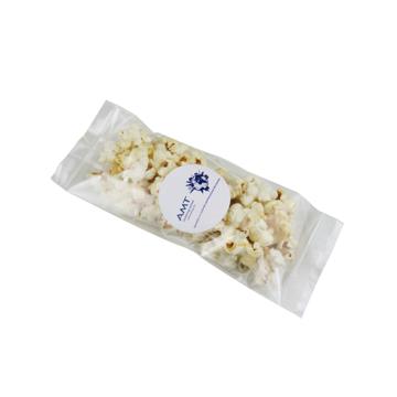 Bag of popcorn with branded label