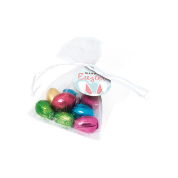 Organza bag with chocolate eggs personalised with printed label