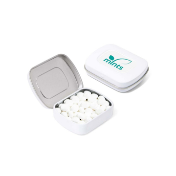 White metal mint tin branded with company logo