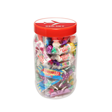 Large jar filled with retro sweets and branded with artwork on the lid