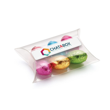 Clear pouch containing 6 foiled chocolate eggs printed with full colour label