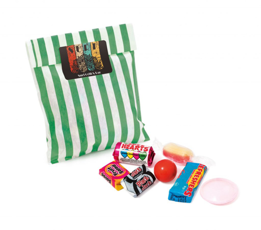 Candy Bag filled with retro sweets and sealed with a printed label