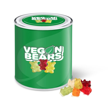 Large branded tin filled with vegan gummy bears.
