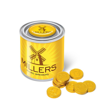 Chocolate coins in a small branded tin personalised with a company logo