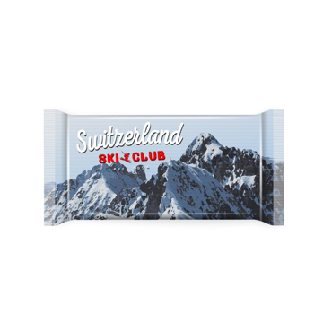 Large 100g bar of swiss chocolate with personalised branded wrapper printed in full colour.