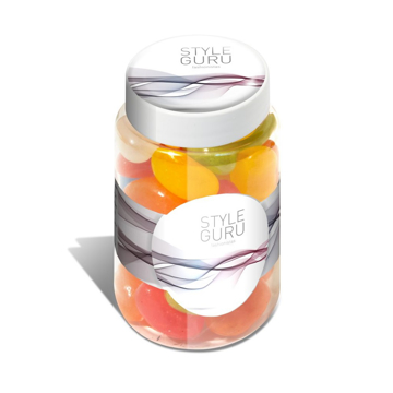 Jar of multi-coloured bean sweets with a branded lid and wrap around jar.