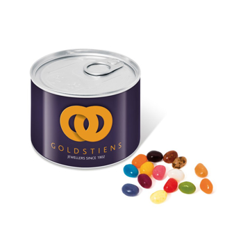 small ring pull can next to coloured jelly beans