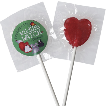 2 lollies with branding, 1 heart shaped.