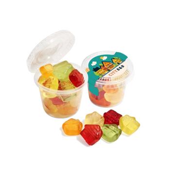 a branded pot of fruit gums