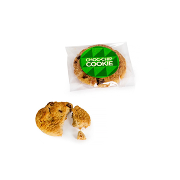 a chocolate chip biscuit individually wrapped with a branded sticker