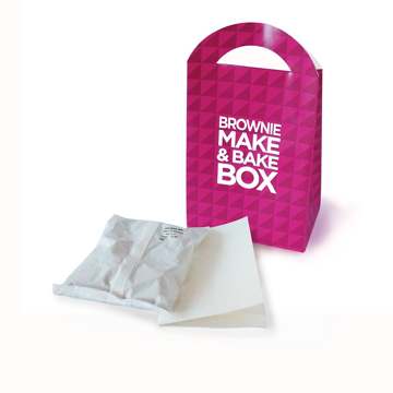 brownie mix kit with printed box