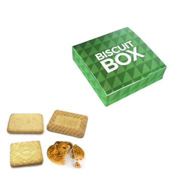 4 biscuits and a branded biscuit box