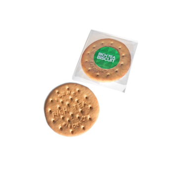 A rich tea biscuit, with branded packet.