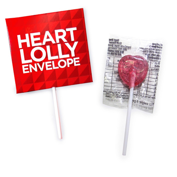 heart shaped lollipop with printed envelope