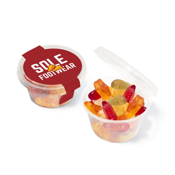 clear pot of fruit flavoured gummy sweets