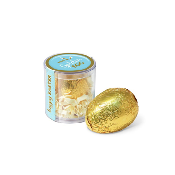 Gold foil wrapped chocolate egg in clear opt