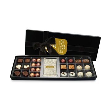 Luxury chocolate selection box with branded tag