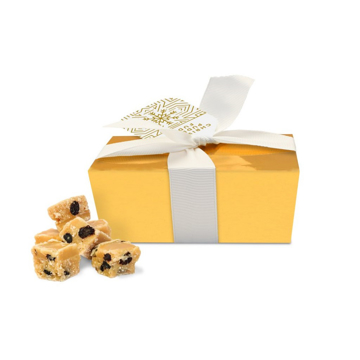 Festive fudge in branded gold box with printed tag and ribbon