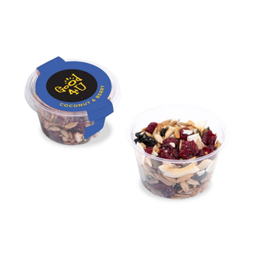 a healthy snack pot with promotional label