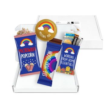 white mailout box displaying 4 promotional confectionery items