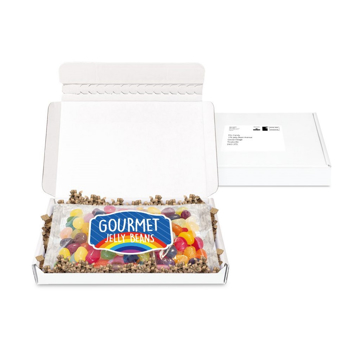white mailout box containing jelly beans with a branded sticker