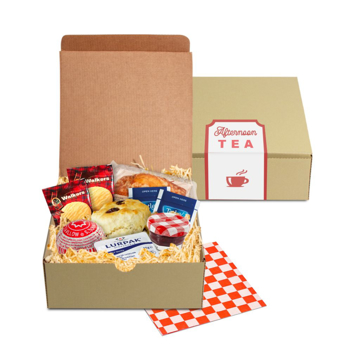 Card box filled with afternoon tea snacks